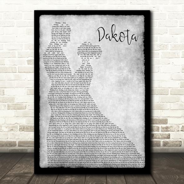Stereophonics Dakota Man Lady Dancing Grey Song Lyric Quote Print