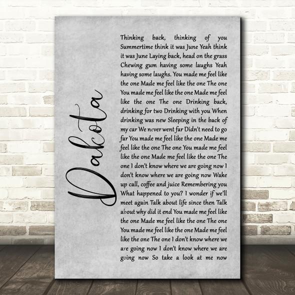 Stereophonics Dakota Rustic Script Grey Song Lyric Quote Print