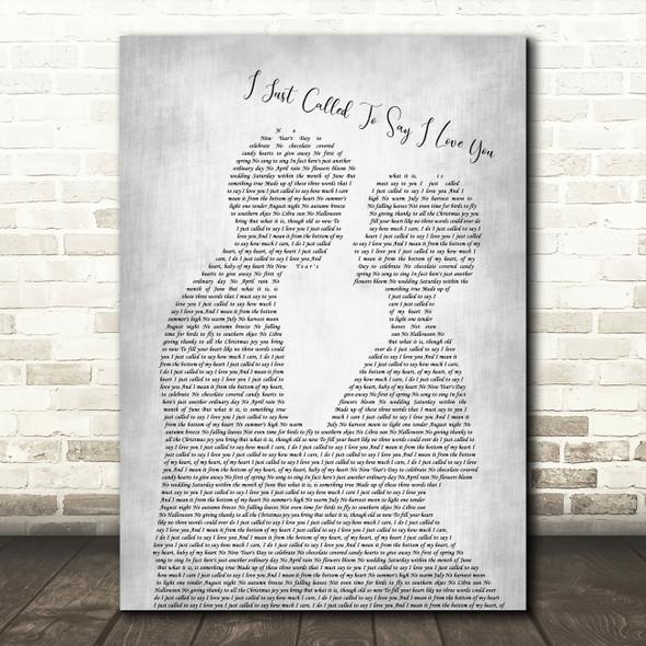 Stevie Wonder I Just Called To Say I Love You Grey Song Lyric Man Lady Print