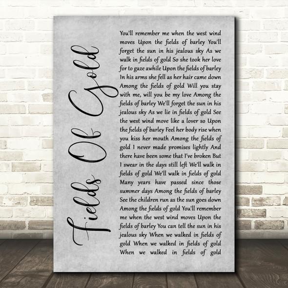 Sting Fields Of Gold Rustic Script Grey Song Lyric Print