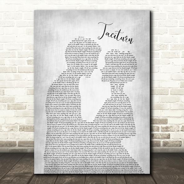 Stone Sour Taciturn Man Lady Bride Groom Wedding Grey Song Lyric Quote Print
