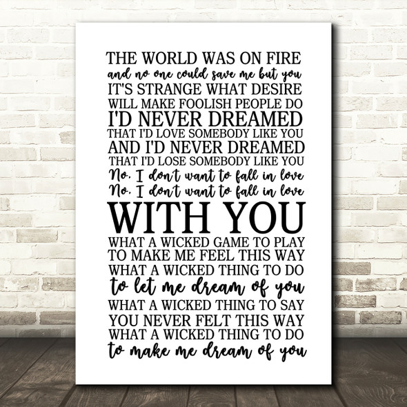 Chris Isaak Wicked Game Song Lyric Quote Print