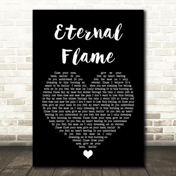 The Bangles Eternal Flame Black Heart Song Lyric Print