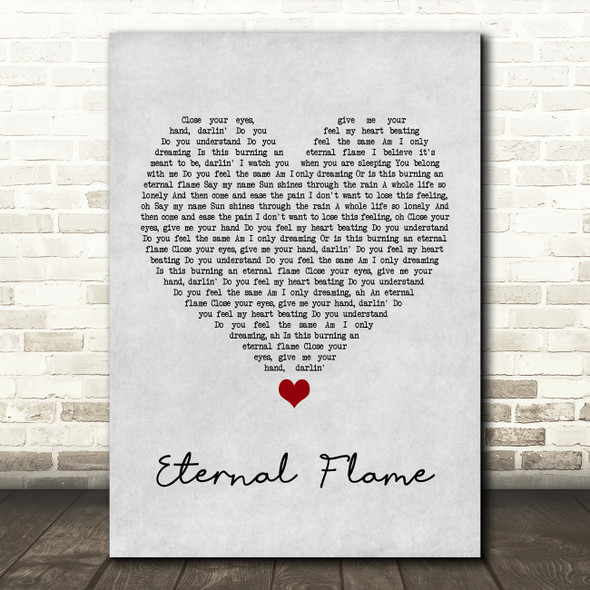 The Bangles Eternal Flame Grey Heart Song Lyric Print