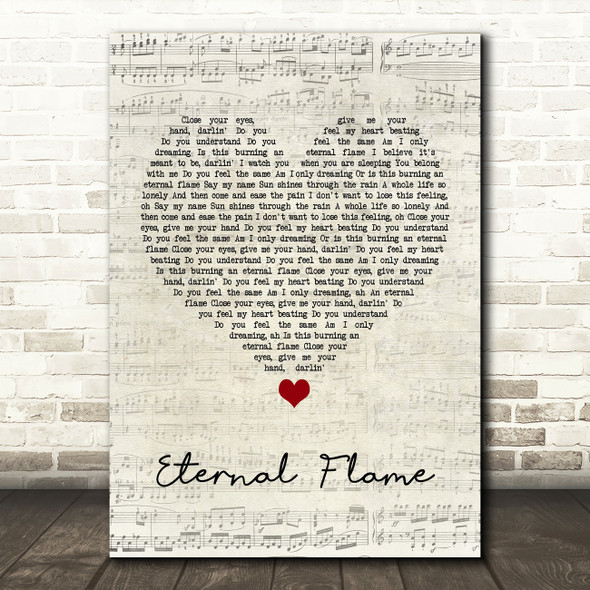 The Bangles Eternal Flame Script Heart Song Lyric Print