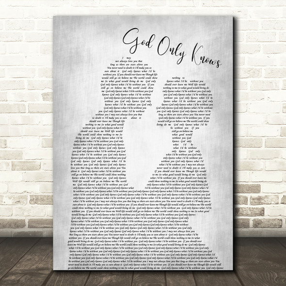 The Beach Boys God Only Knows Man Lady Bride Groom Wedding Grey Song Lyric Print