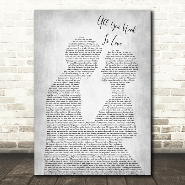 The Beatles All You Need Is Love Grey Song Man Lady Bride Groom Wedding Print