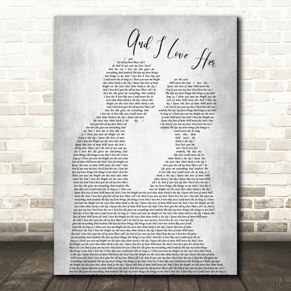The Beatles And I Love Her Grey Song Lyric Man Lady Bride Groom Wedding Print