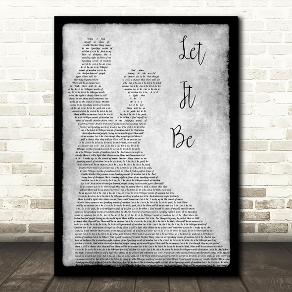 The Beatles Let It Be Man Lady Dancing Grey Song Lyric Quote Print