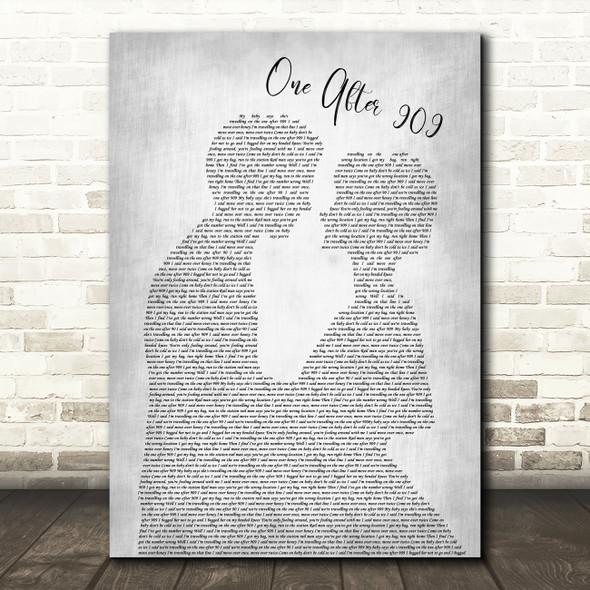 The Beatles One After 909 Man Lady Bride Groom Wedding Grey Song Lyric Print