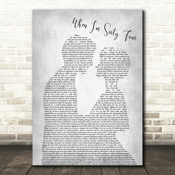 The Beatles When I'm Sixty Four Grey Song Man Lady Bride Groom Wedding Print
