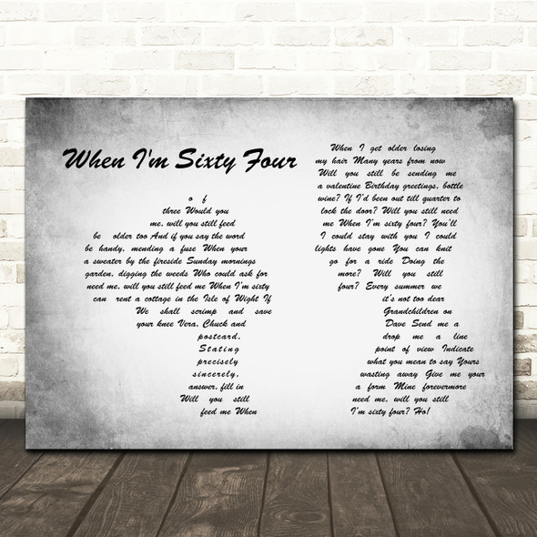 The Beatles When I'm Sixty Four Man Lady Couple Grey Song Lyric Quote Print