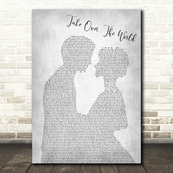 The Courteeners Take Over The World Man Lady Bride Groom Grey Song Lyric Print