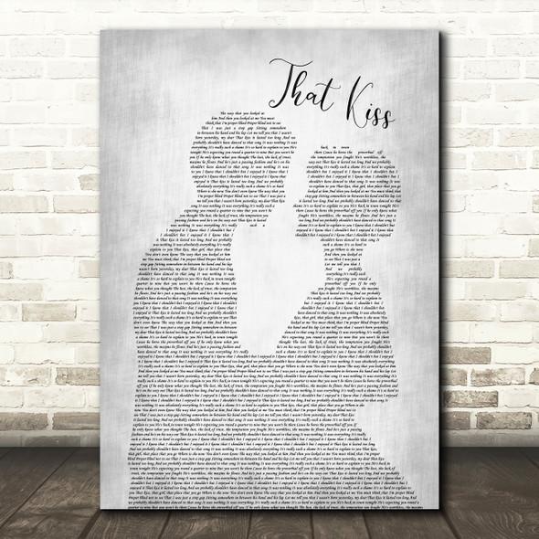 The Courteeners That Kiss Man Lady Bride Groom Wedding Grey Song Lyric Print