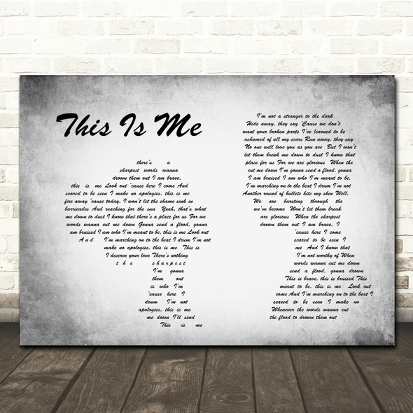 The Greatest Showman This Is Me Man Lady Couple Grey Song Lyric Quote Print