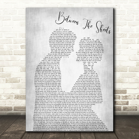The Isley Brothers Between The Sheets Man Lady Bride Groom Grey Song Lyric Print