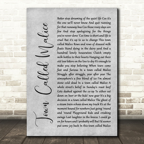 The Jam Town Called Malice Rustic Script Grey Song Lyric Print