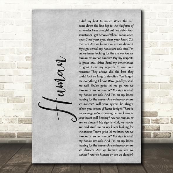 The Killers Human Rustic Script Grey Song Lyric Quote Print