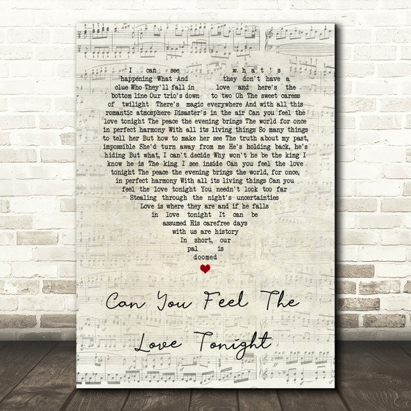The Lion King Can You Feel The Love Tonight Script Heart Song Lyric Print