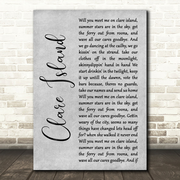 The Saw Doctors Clare Island Grey Rustic Script Song Lyric Print