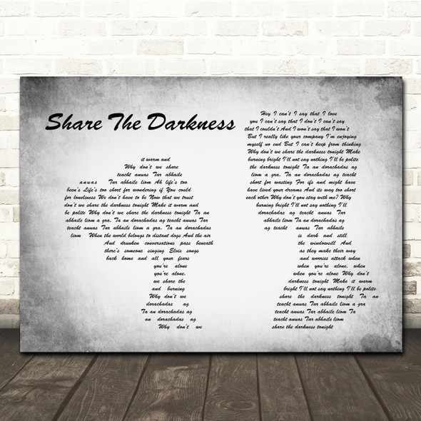 The Saw Doctors Share The Darkness Man Lady Couple Grey Song Lyric Quote Print