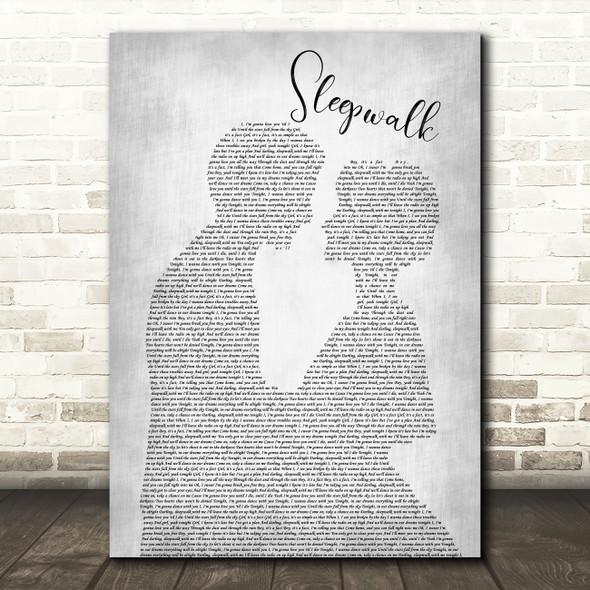 The Shires Sleepwalk Man Lady Bride Groom Wedding Grey Song Lyric Print