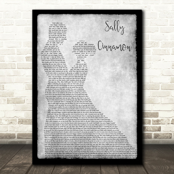 The Stone Roses Sally Cinnamon Man Lady Dancing Grey Song Lyric Quote Print