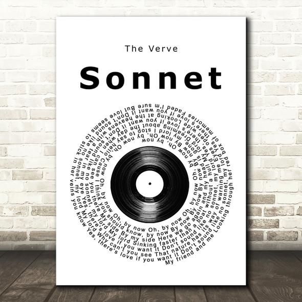 The Verve Sonnet Vinyl Record Song Lyric Print
