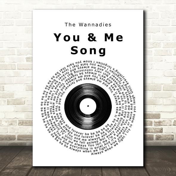 The Wannadies You & Me Song Vinyl Record Song Lyric Print