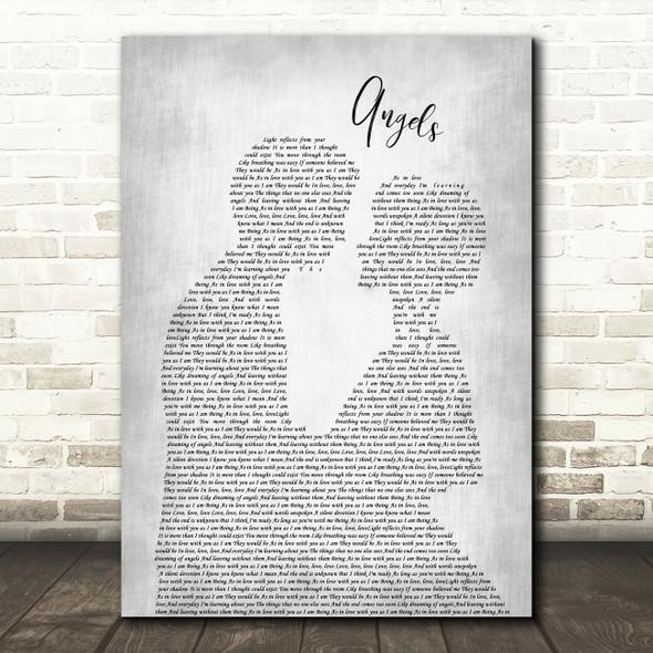 The xx Angels Man Lady Bride Groom Wedding Grey Song Lyric Print