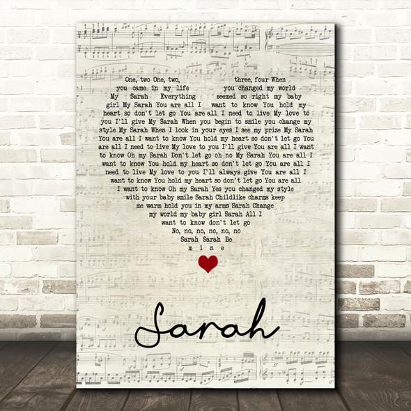 Thin Lizzy Sarah Script Heart Song Lyric Print