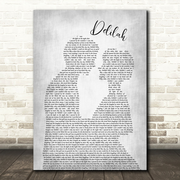 Tom Jones Delilah Man Lady Bride Groom Wedding Grey Song Lyric Quote Print