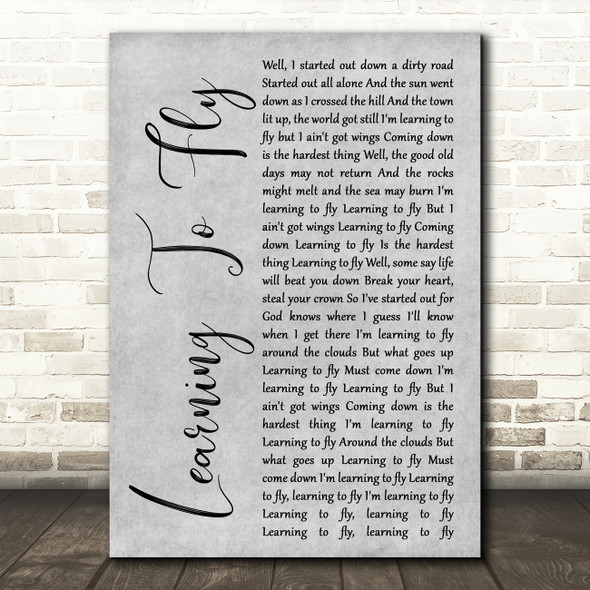 Tom Petty And The Heartbreakers Learning To Fly Grey Rustic Script Song Print
