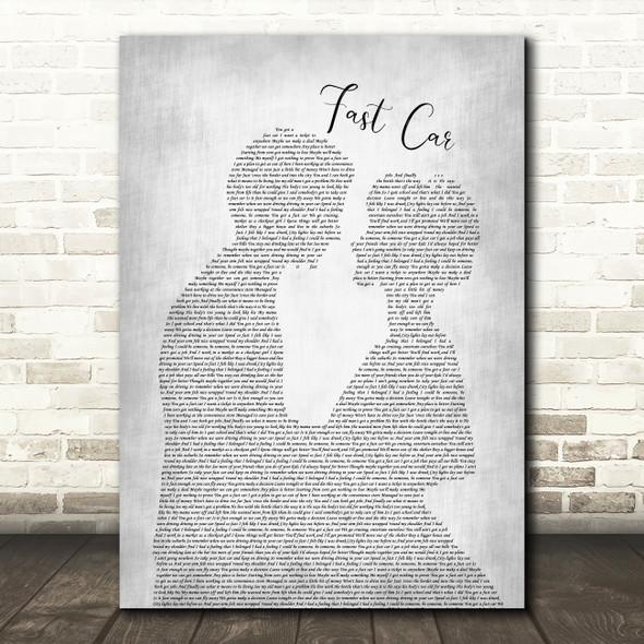 Tracy Chapman Fast Car Man Lady Bride Groom Wedding Grey Song Lyric Print