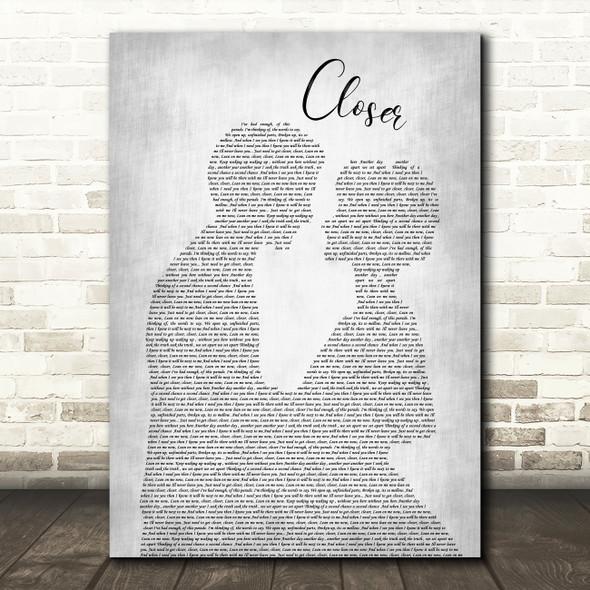 Travis Closer Man Lady Bride Groom Wedding Grey Song Lyric Quote Print