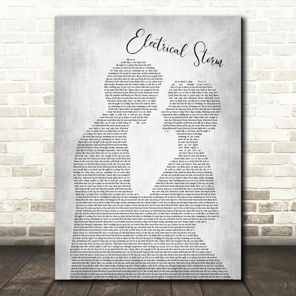 U2 Electrical Storm Man Lady Bride Groom Wedding Grey Song Lyric Quote Print