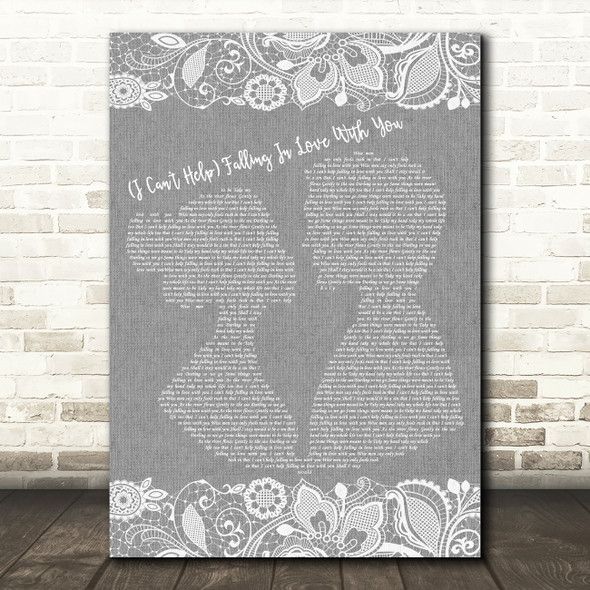 UB40 (I Can't Help) Falling In Love With You Burlap & Lace Grey Song Lyric Print