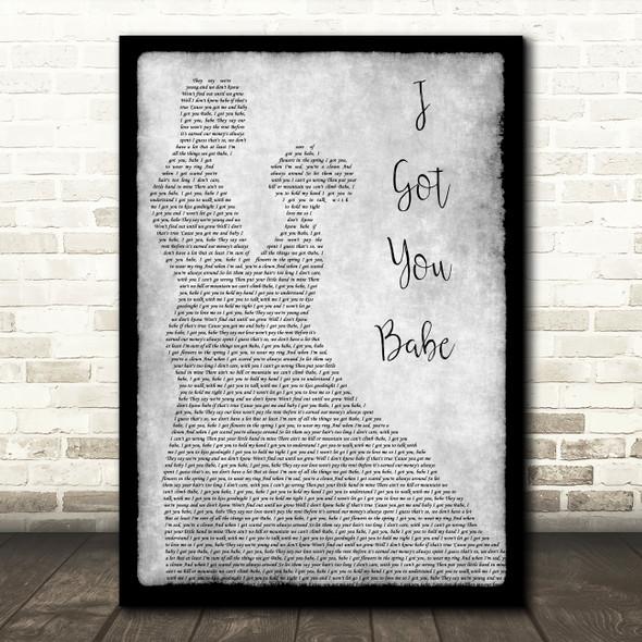 UB40 I Got You Babe Man Lady Dancing Grey Song Lyric Quote Print