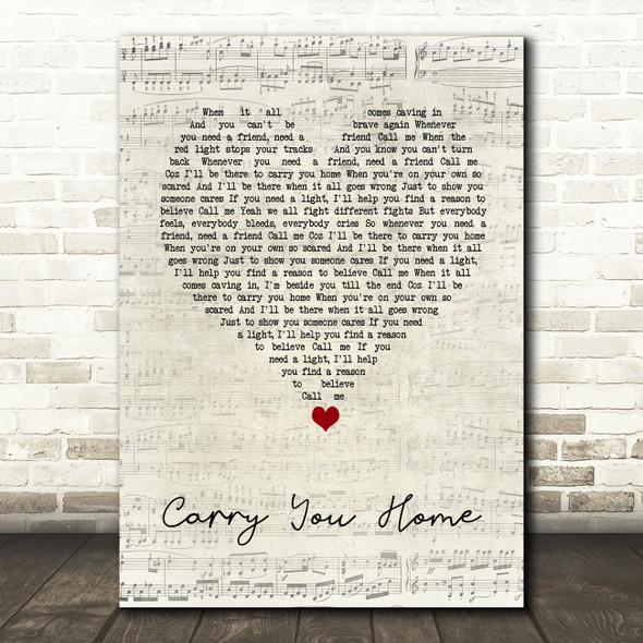 Ward Thomas Carry You Home Script Heart Song Lyric Print