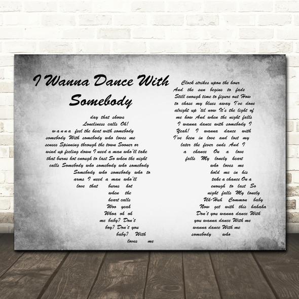 Whitney Houston I Wanna Dance With Somebody Man Lady Couple Grey Song Print