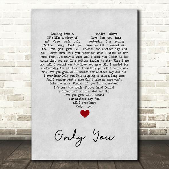 Yazoo Only You Grey Heart Song Lyric Print