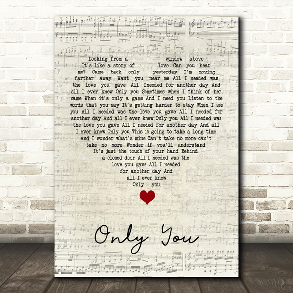 Yazoo Only You Script Heart Song Lyric Print