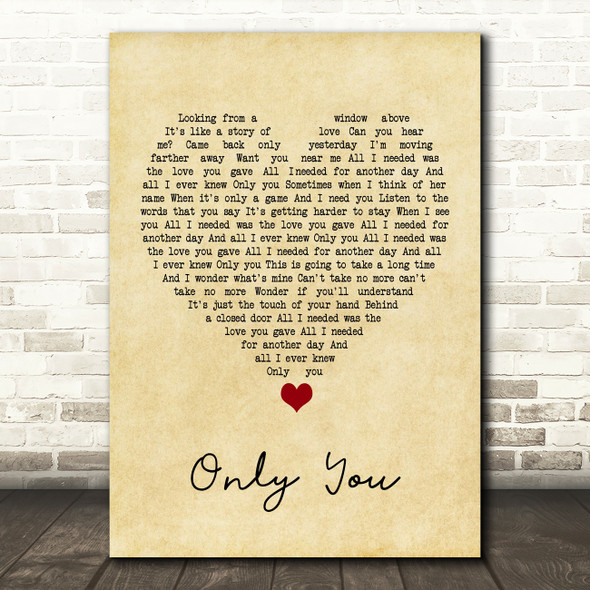 Yazoo Only You Vintage Heart Song Lyric Print