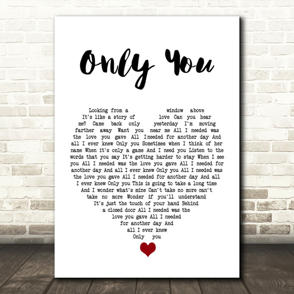 Yazoo Only You White Heart Song Lyric Print