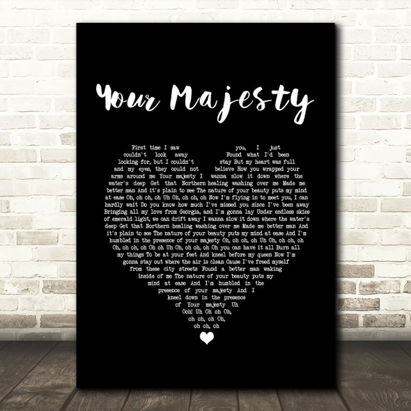 Zac Brown Band Your Majesty Black Heart Song Lyric Print