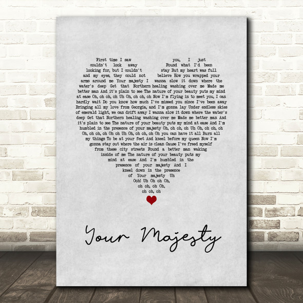 Zac Brown Band Your Majesty Grey Heart Song Lyric Print