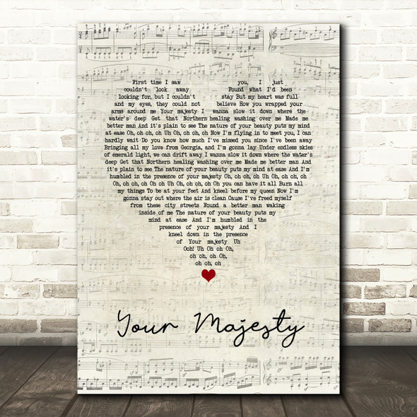 Zac Brown Band Your Majesty Script Heart Song Lyric Print