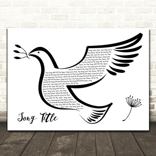 Any Song Custom Black & White Dove Bird Personalised Lyrics Print