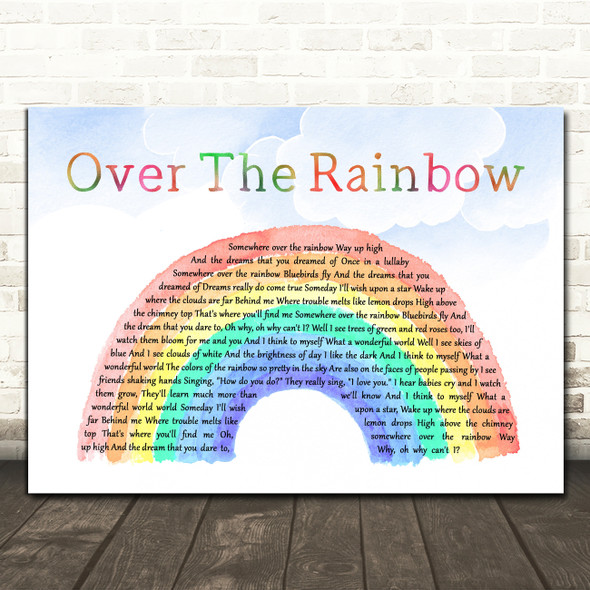 Judy Garland Somewhere Over The Rainbow Watercolour Rainbow & Clouds Song Lyric Quote Music Print