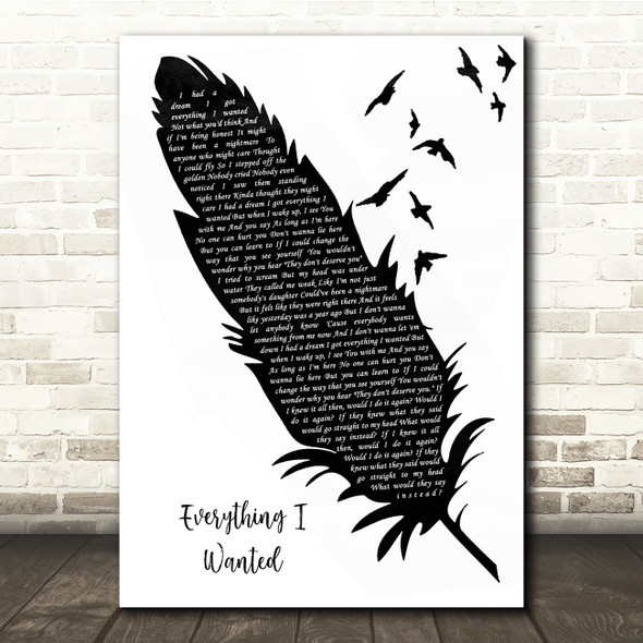 Billie Eilish Everything I Wanted Black & White Feather & Birds Song Lyric Quote Music Print